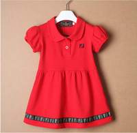 Retail New Brand Baby Girl's Formal Gowns/Girl's Cotton A-line One-Piece Dress/Children's Short Sleeve Summer Dress