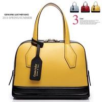 New arrival summer women handbag fashion contrast color genuine leather bag