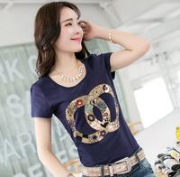 Free Shipping 5 Colors S-XXXL Size New 2014 t-shirt women clothing Summer dress Hot Sale Cotton clothes Tops short-sleeve shirt