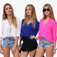 New Fashion Women Leisure Loose Chiffon Sleeve Blouse Shirt Tops Tonsee