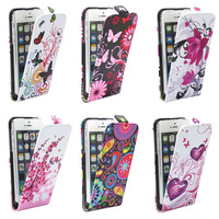 Cute Flower Nation Pattern Design Leather Flip Up and Down Hard Cover Case For iPhone4 4s 5G 5S Stylish Heart Butterfly