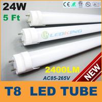 T8 LED Tube Light 24W 5ft 1500mm 1.5m LED fluorescent tube lamp SMD2835 High brightness 2400LM AC85-265V CE RoHS FCC