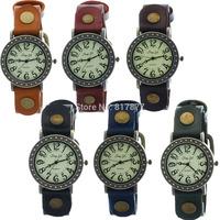 Unisex Hollow Dot Case Round Retro Quartz Vintage Rusty Buckle Leather Strap Wrist Men Women Watches Wholesale Free Shipping