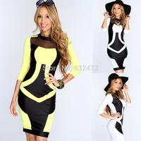 Free shipping prom dresses 2014 women's summer Hit color Slim sexy nightclub dresses party evening dress vestidos de fiesta