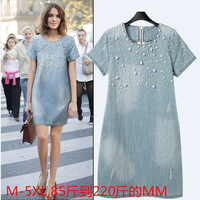 Tide! M-5XL, 2014 European and American fashion summer new large size women's short-sleeved dress denim dress