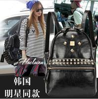 2014 summer new fashion women pu backpack school backpack casual pivet backpack shoulder bag  top selling