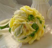 24cm Green Rose Flower Bouquet Artificial Cascading Bride Wedding Flower