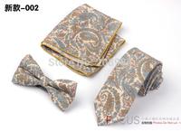 Retail & Wholesale Fashion Mens tie +bow tie + pocket square set  paisley necktie set Christmas Gift free shipping 1 set #1692
