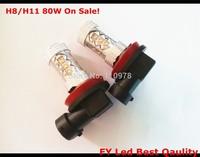Free Shipping On Sale! 2 Pcs Cree Xenon LED 80 Watt 80W Angel Eyes H8 H11 Nebelscheinwerfer LED Voiture Ampoules Anti Brouillard