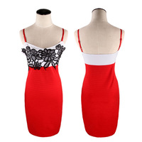 2014 Women Summer Red Patchwork White Sexy Club Black Lace Formal Dresses Strapless Cocktail Dresses Plus Size Women Clothing