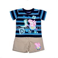 Wholesale New Kids Suit Boy 2pcs peppa pig set with a short sleeve T-shirt + shorts, Children Clothes suit, 7sets/lot-WYX-BB-24