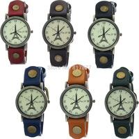 Unisex Paris Effiel Tower Roman Dial Cow Leather Women Men  Lovers' Quartz Wrist Watches 6 Colors Mixed Wholesale Free Shipping