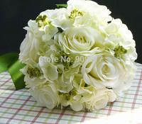 26cm White Flower Bride Bouquet Artificial Cascading Silk Wedding Rose Bouquet
