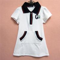 Retail Brand Girl's Formal Dress/Girl's Cotton Dresses/Children's Short Sleeve Cute Dress/Girl's Summer Dress