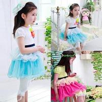 New Girls Kids Skirt Dress Black Belt Handmade Floral Pettiskirt Princess Dress Free shipping & Drop shipping
