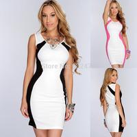 Free shipping prom dresses 2014women's summer fashion Splice Slim sexy nightclub dresses party evening dress vestidos de fiesta