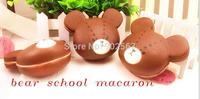 2014 new rare ameracan cartoon cute kawaii  bearschool macaron squishy charms with tag freeshipping