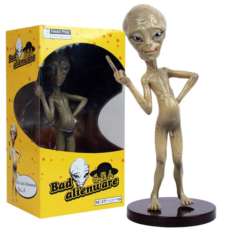 "Head Play BAD ALIEN ""PAUL"" Comedy Movie Figure Nude Middle Finger 22cm Figurine(China (Mainland))"