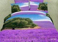 Wholesale of 100% cotton bedding set 3D nature duvet cover sheet pillowcase /bedclothes/bed linen/purple quilt cover sets