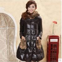 Designer women's long-sleeve large fur collar with a hood medium-long down coat latest style winter jacket ladies parka WC1341