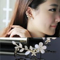 New 2014 Fashion Korea Crystal Opal Flower Single Earcuff Earrings For Women Ear Charms Wholesale,  A513