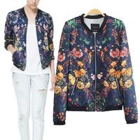 2014 street style new fashion women slim short pilots jacket coat vintage floral printing baseball jacket S,M,L in stock