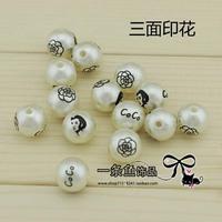 Free shipping 50pcs  Pearl white 16mm Round Shape Three surface printing pearl ball Imitation pearls  beads