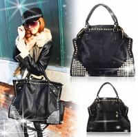 hot sale!Europe and America fashion Women Shining Rivet Fake Diamond Punk Bag PU Leather Handbags Shoulder Bags Bolsas Femininas