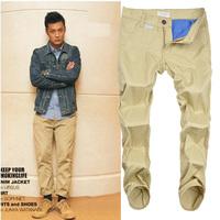 Hot 2014 New Men 's Casual Pants Slim Straight CLOT Khaki High Quality Men Pants Fashion Clothing Free Shipping