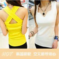 Korean Version Cross-back Petal Collar Vest Straps Bottoming Shirt S420