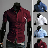 Free shipping ,2014 new Summer Hot Selling Short Sleeve Male casual Shirt,Decorative pocket Novelty Small Shirt Male Slim Fit