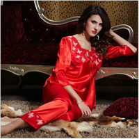 New 2014 Hot Sale fashion Sexy Silk costume full sleeve Slips (Top+pant 2pieces) Lace Sleepwear sets 2colors Fee shipping