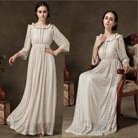 New fashion women summer maxi novelty dresses long beach dress 2014 autumn hollow out lace party dresses khaki xl plus size