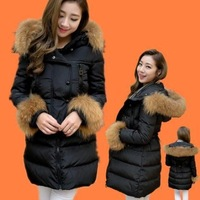 Winter large fur collar with a hood medium-long down coat female luxury designer outerwear hot sale warm jacket for women WC1435