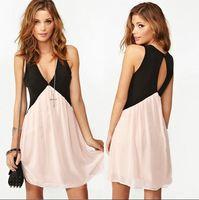 2014 new dress summer and autumn dress women dress Sexy Deep V-neck Stitching Back Hollow Chiffon Vest Dress Sleeveless