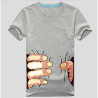 Personality whimsy spoof hand grasp the waist male t-shirts with short sleeves