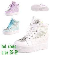 2014 Women Platform Elevator Rhinestone Gauze Lace  Paillettl Beaded Canvas Shoes Sasual Sneaker For Female Fashion Sport Shoes