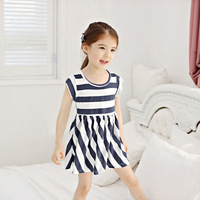 Navy Blue Striped Girl Dresses High Quality Kids Skirts Children Summer Clothing Kids Wear Suit Free Shipping