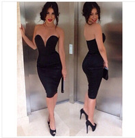 free shIpping .2014 new love girl fashion Deep V Knee-length dress strapless party dress
