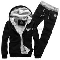 2014 Men's clothing base black plus velvet thickening with a hood cardigan sweatshirt male set outerwear hoodies men