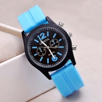 Men Military Army Watch New Geneva Silicone Watch Women Dress Watch Sports Watch Assorted 14 Colors Scrub Watches 55pcs/lot