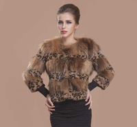 2014 New Ladies High Grade Fashion Leopard Fur Coat Rex Genuine Raccoon Fur Jacket 16-019D , EMS Free Shipping