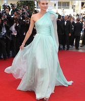 2014 elegant   High quantity Cannes  women  mint one shoulder chiffon Celebrity Dresses a1002