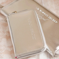 Free Shipping Victoria vs Wallet women long Purse clutch zipper silver PU Leather glitter