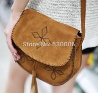 Vintage Pu Leather Handmade Embroidery Tassel Design Buckle Shoulder Bags Women Girl's Handbag/ Bohemia Style Mini Messenger Bag