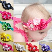 10pcs new Baby Girl Ruffles Rose Flower Hair Ribbon Baby Hair Headband Girl's Hair Accessories children accessories