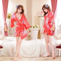 New women's Sexy Lingerie Improved Japan kimono set Cleavage Uniform Printing satin, kimono+Bra+G-String+Waistband, SL609124223