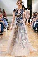 2014 elegant   High quantity Cannes  women's   bule slash appliques Celebrity Dresses a1002