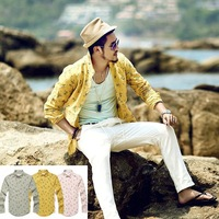 New 2014  High Quality Men Casual Fashion Designer  Floral Hawaiian Shirt Men's Slim Fit Long Sleeve Cotton Linen Shirts  S-XL