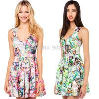 Fashion summer ink print deep V-neck pleated long zipper back one-piece dress haoduoyi